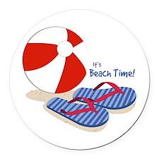 Beach Time Round Car Magnet