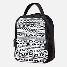 Tribal Pattern b/w Neoprene Lunch Bag