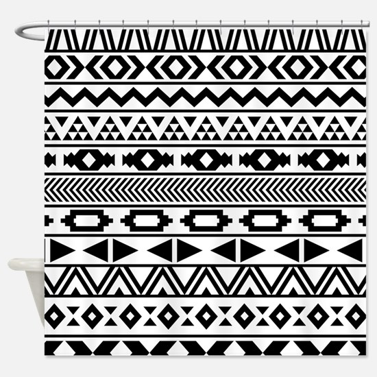 Tribal Pattern b/w Shower Curtain
