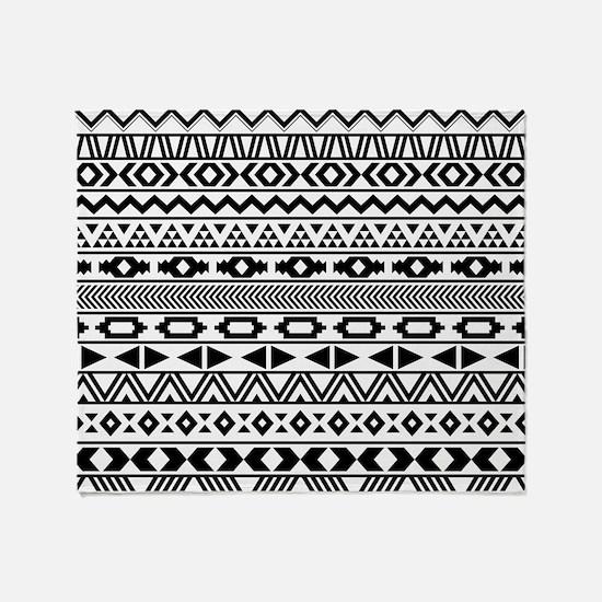 Tribal Pattern b/w Throw Blanket
