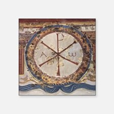 "Chi-Rho symbol. 3rd cent. A Square Sticker 3"" x 3"""