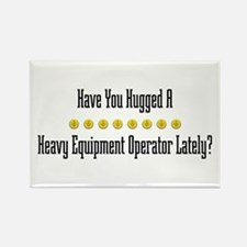 Hugged Heavy Equipment Operator Rectangle Magnet