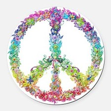 Peace of Flowers Round Car Magnet