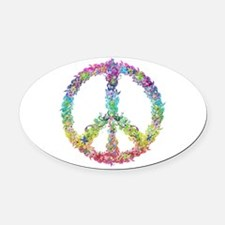 Peace of Flowers Oval Car Magnet