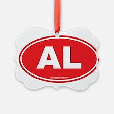 Alabama AL Euro Oval RED Ornament