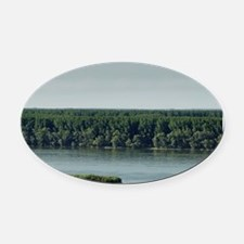 Meeting from Sava and Danube river Oval Car Magnet