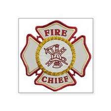 "Cute Fire chief Square Sticker 3"" x 3"""