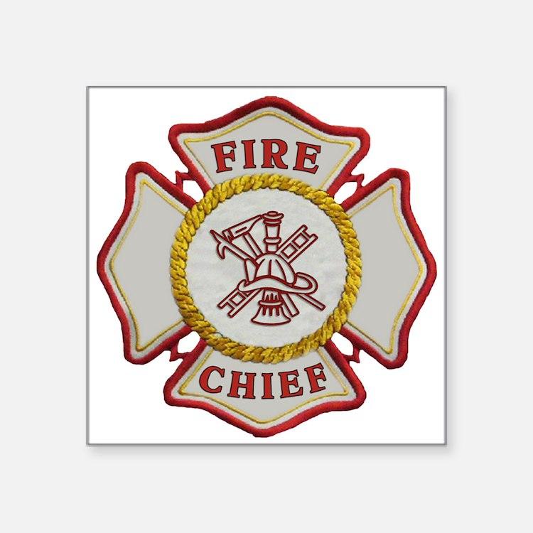 "Cute Fire chief Square Sticker 3"" x 3"""