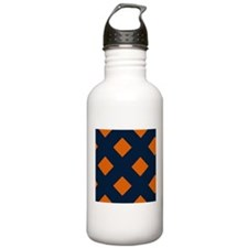 Shy Blue and Orange Pretzel-Patterned Water Bottle