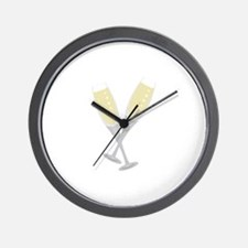 Champagne Flutes Wall Clock