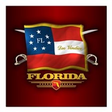 "Florida-Deo Vindice Square Car Magnet 3"" x 3"""