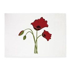 Bunch Of Poppies 5'x7'Area Rug