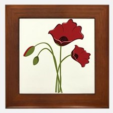 Bunch Of Poppies Framed Tile