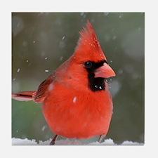 Snowflake Cardinal Tile Coaster