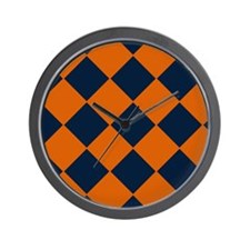Shy Blue and Orange Diamond-Patterned Wall Clock
