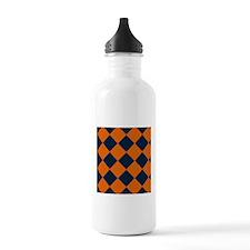Shy Blue and Orange Diamond-Patterned Water Bottle