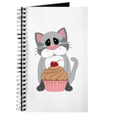 Gray Cat With Pink and Chocolate Cupcake Journal