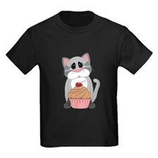 Gray Cat With Pink and Chocolate Cupcake T-Shirt