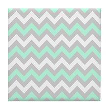 Mint And Gray Chevron Tile Coaster