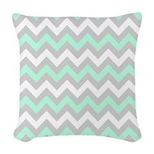 Mint And Gray Chevron Woven Throw Pillow