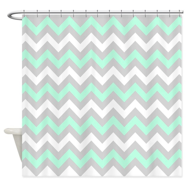 Mint And Gray Chevron Shower Curtain By Ornaartzi