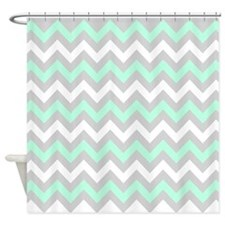 Mint And Gray Chevron, Shower Curtain