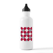 Scarlet and Grey Cobbler-Patterned Water Bottle