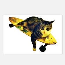 Skateboarding Cat - Cut Out Postcards (Package of