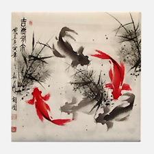 Koi Fish and Flowers Tile Coaster