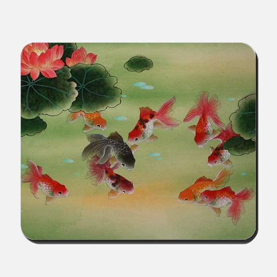 Koi Fish and Flowers Mousepad
