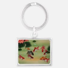 Koi Fish and Flowers Landscape Keychain
