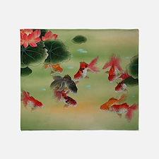 Koi Fish and Flowers Throw Blanket