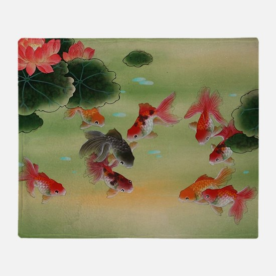 Koi Fish and Flowers Throw Blanket