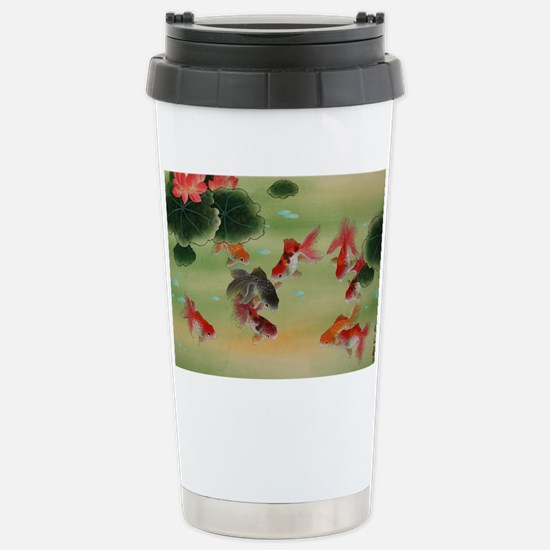 Koi Fish and Flowers Stainless Steel Travel Mug