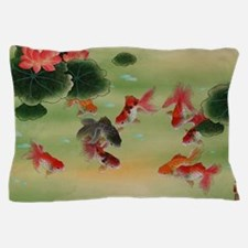 Koi Fish and Flowers Pillow Case