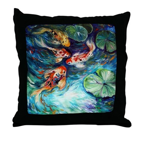 Koi fish and flowers throw pillow by listing store 124368888 for Koi fish pillow