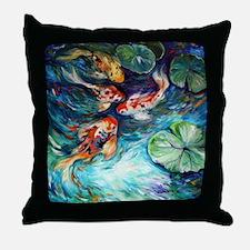 Koi Fish and Flowers Throw Pillow