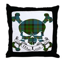 MacLeod Tartan Skull Throw Pillow