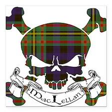 """MacLellan Tartan Skull Square Car Magnet 3"""" x 3"""""""