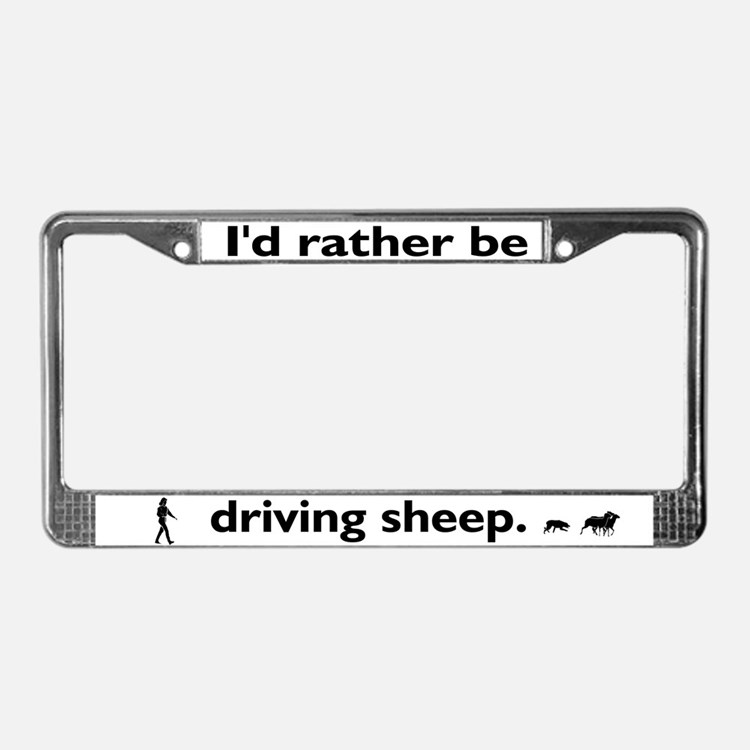 Driving Sheep License Plate Frame