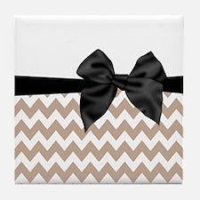 Beige Black Bow Chevron Tile Coaster