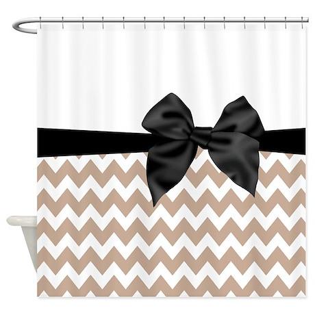Beige black bow chevron shower curtain by