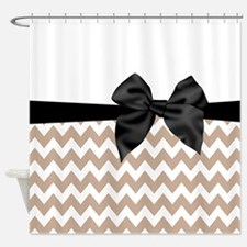 Beige Black Bow Chevron Shower Curtain
