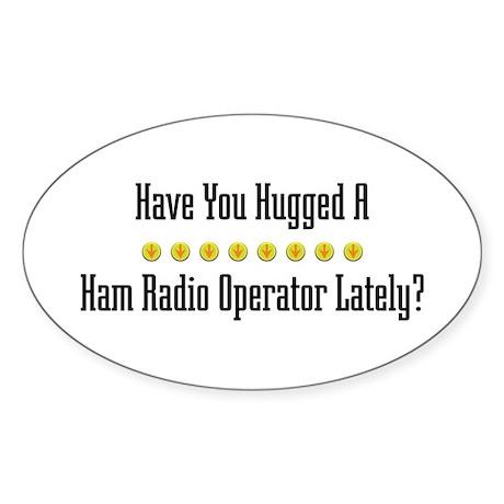 Hugged Ham Radio Operator Oval Sticker