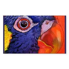 Green naped Lory Parrot Rectangle Decal