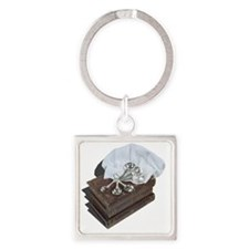 Cute Will cook for books Square Keychain