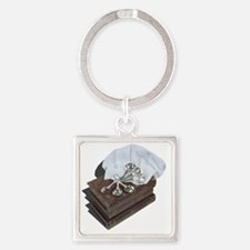 Cool Will cook for books Square Keychain