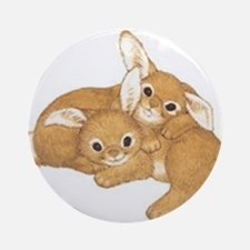 Two Cute Bunnies Ornament (Round)