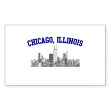 Chicago, Illinois Skyline Rectangle Decal