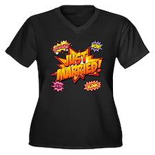 Just Married Women's Plus Size V-Neck Dark T-Shirt